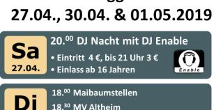 27.4./30.4./1.5. – Maifest Deggenhausen